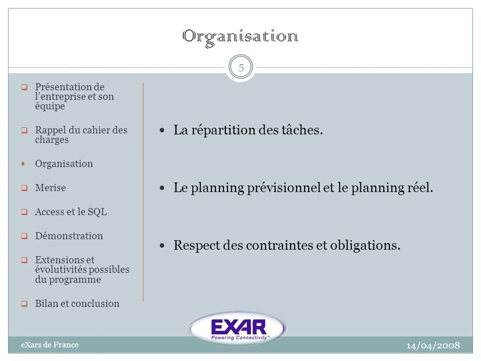 Organisation 14/04/2008 eXars de France 5 Présentation de lentreprise et son équipe Rappel du cahier des charges Organisation Merise Access et le SQL