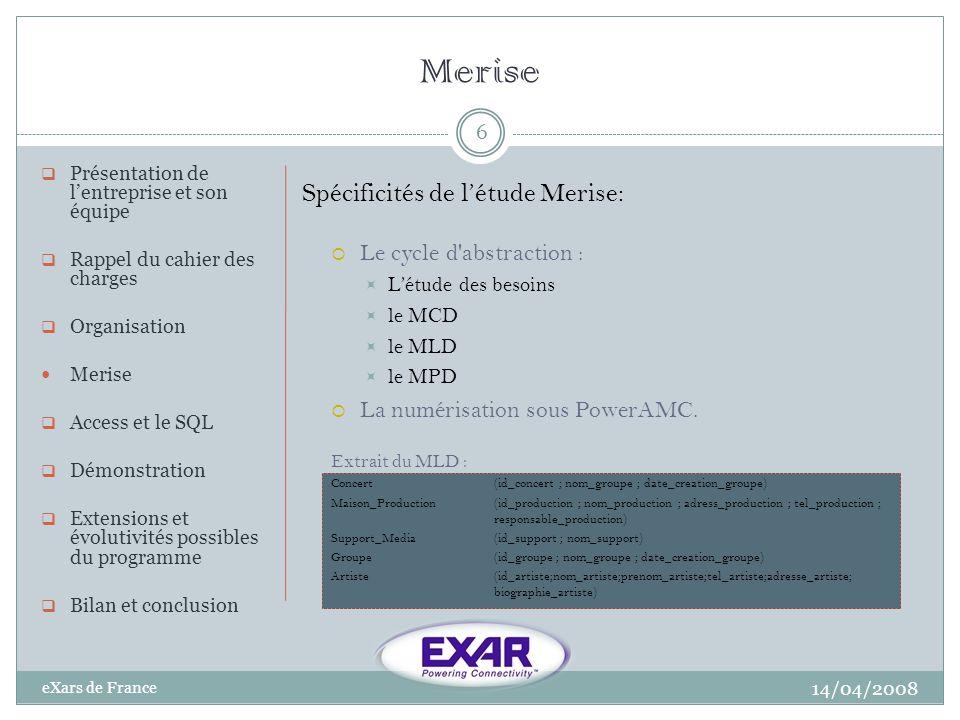 Merise 14/04/2008 eXars de France 6 Présentation de lentreprise et son équipe Rappel du cahier des charges Organisation Merise Access et le SQL Démons
