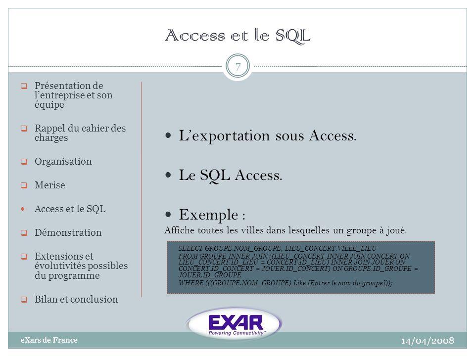 Démonstration 14/04/2008 eXars de France 8 Présentation de lentreprise et son équipe Rappel du cahier des charges Organisation Merise Access et le SQL Démonstration Extensions et évolutivités possibles du programme Bilan et conclusion