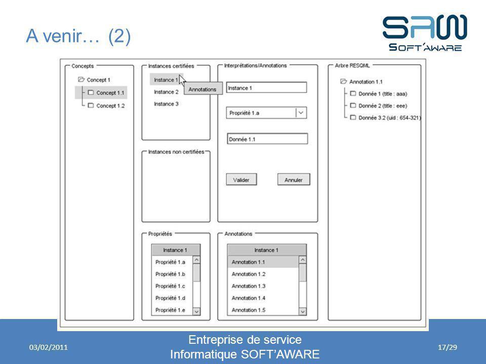 A venir… (2) Entreprise de service Informatique SOFTAWARE 03/02/201117/29