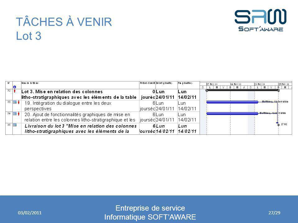 TÂCHES À VENIR Lot 3 Entreprise de service Informatique SOFTAWARE 03/02/201127/29