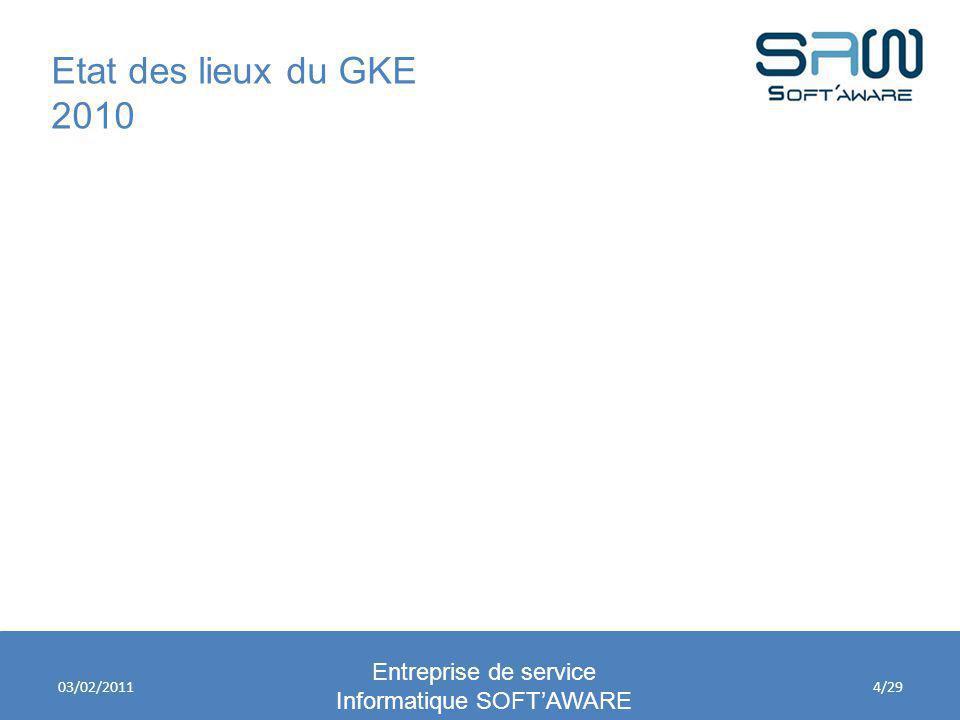 Etat des lieux du GKE 2010 Entreprise de service Informatique SOFTAWARE 03/02/20114/29