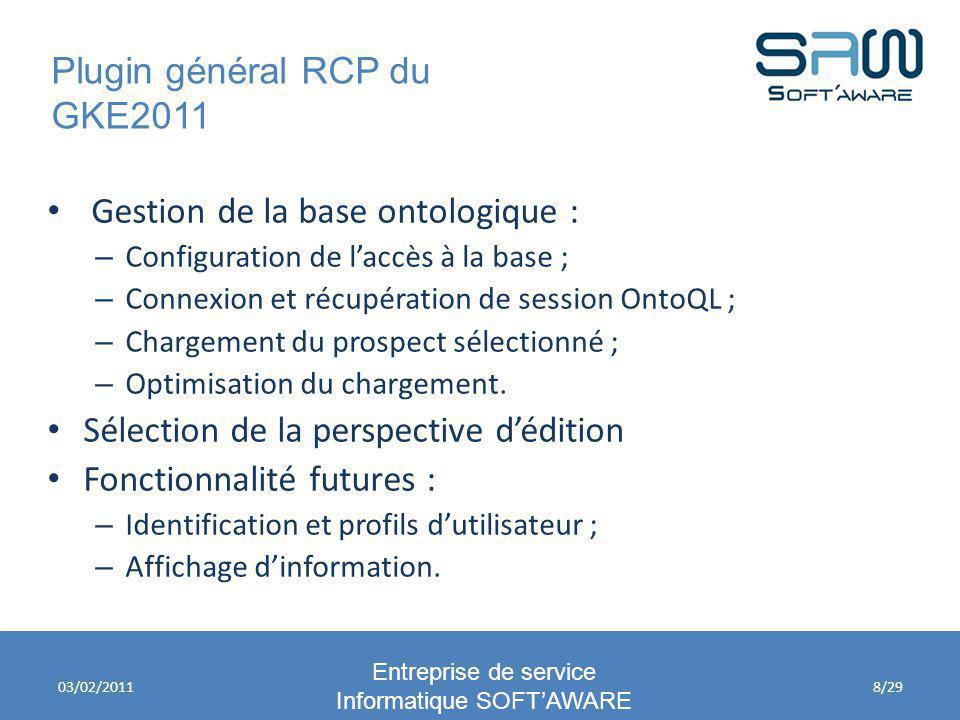 Plugin général RCP du GKE2011 Entreprise de service Informatique SOFTAWARE 03/02/2011 Gestion de la base ontologique : – Configuration de laccès à la