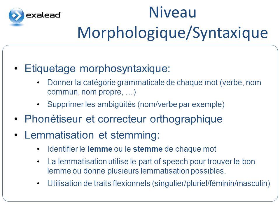 Niveau Morphologique/Syntaxique CloudView Search Etiquetage morphosyntaxique: Donner la catégorie grammaticale de chaque mot (verbe, nom commun, nom p