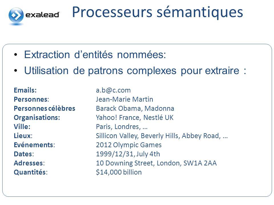 Processeurs sémantiques CloudView Search Extraction dentités nommées: Utilisation de patrons complexes pour extraire : Emails:a.b@c.com Personnes: Jea