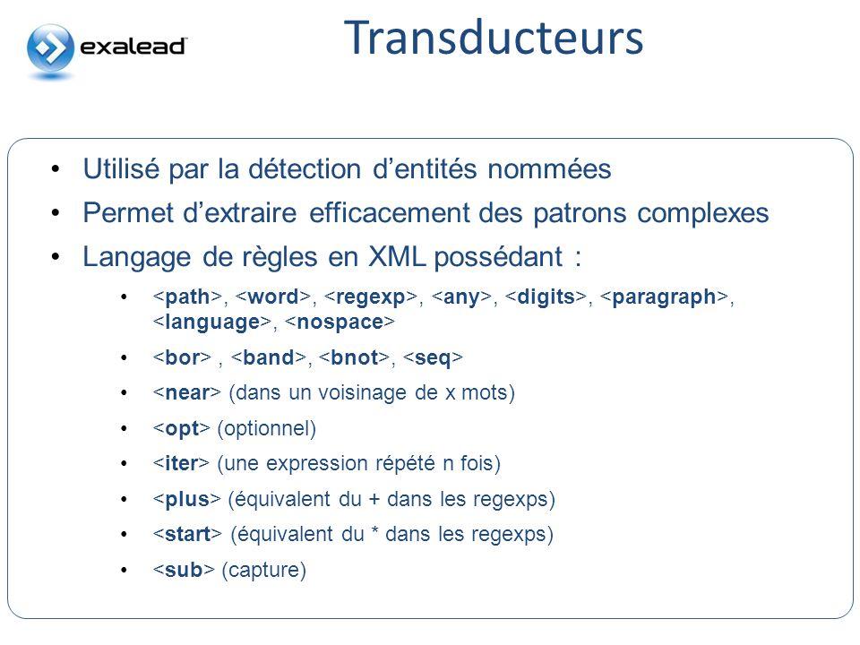 Transducteurs CloudView Search Utilisé par la détection dentités nommées Permet dextraire efficacement des patrons complexes Langage de règles en XML
