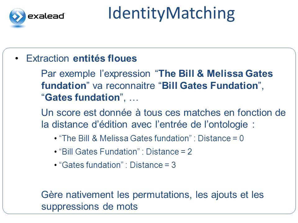 IdentityMatching CloudView Search Extraction entités floues Par exemple lexpression The Bill & Melissa Gates fundation va reconnaitre Bill Gates Funda