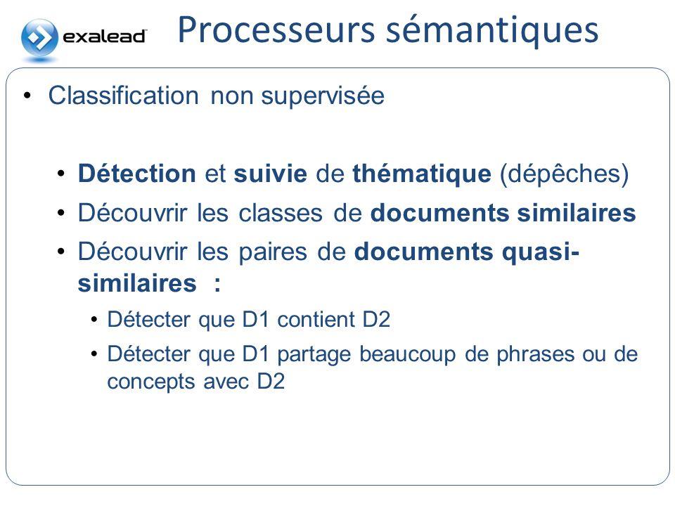 Processeurs sémantiques CloudView Search Classification non supervisée Détection et suivie de thématique (dépêches) Découvrir les classes de documents