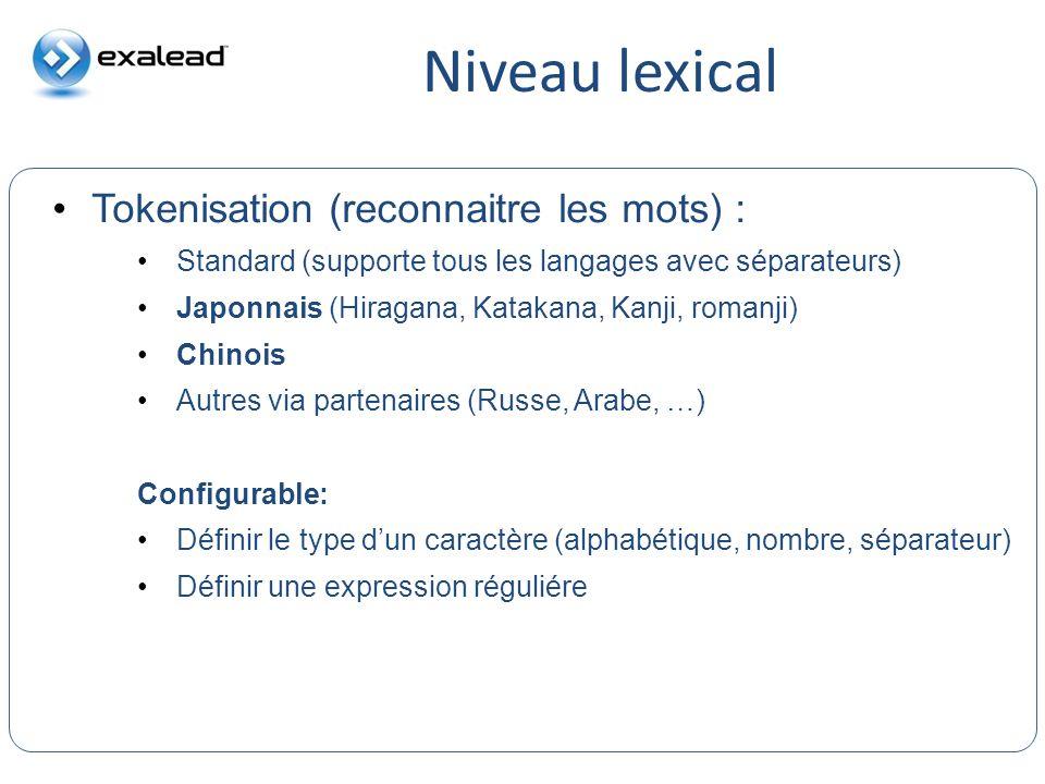 Niveau lexical CloudView Search Tokenisation (reconnaitre les mots) : Standard (supporte tous les langages avec séparateurs) Japonnais (Hiragana, Kata