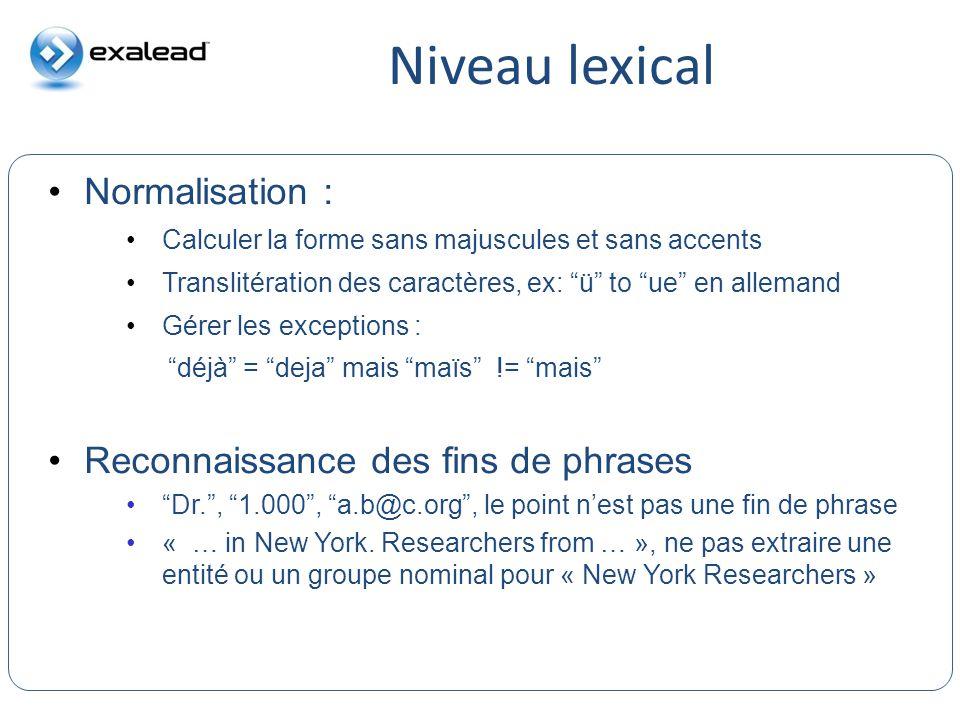 CloudView Search Normalisation : Calculer la forme sans majuscules et sans accents Translitération des caractères, ex: ü to ue en allemand Gérer les e