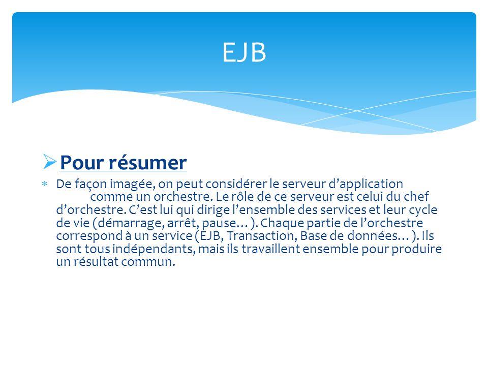 EJB Session Un Session Bean est une application côté serveur permettant de fournir un ou plusieurs services à différentes applications clientes.