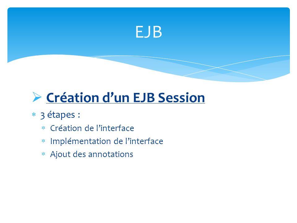 Création dun EJB Session 3 étapes : Création de linterface Implémentation de linterface Ajout des annotations EJB