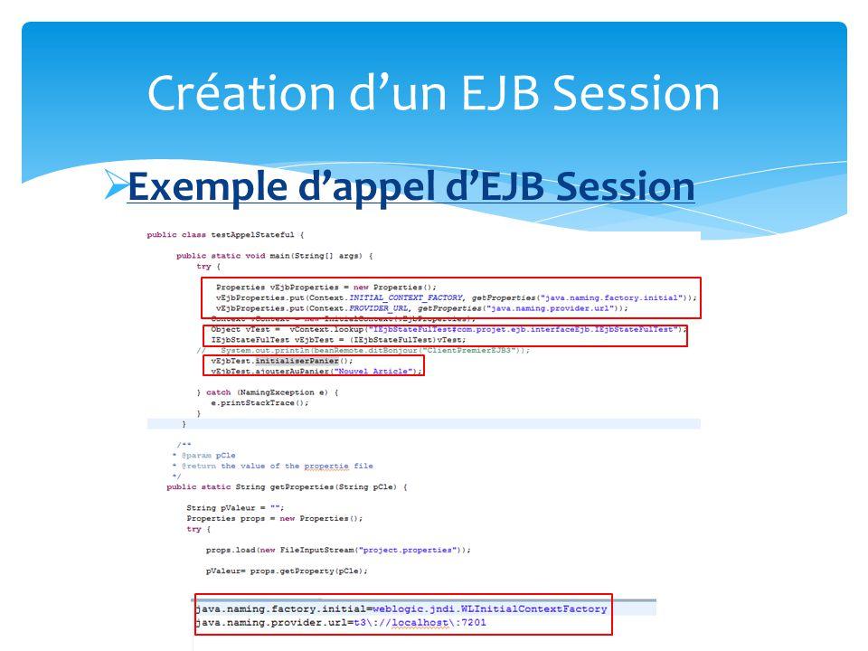 Ajout des annotations @Remote lejb sera accessible depuis lextérieur via le protocole RMI @Local Lejb sera accessible depuis la JVM sur laquelle il sera deployé @StateLess Ejb « Sans état », 1 instance utilisée pour lensemble des clients @StateFull Ejb « avec état », 1 instance pour chaque client, linstance sera donc spécifique à son client Création dun EJB Session