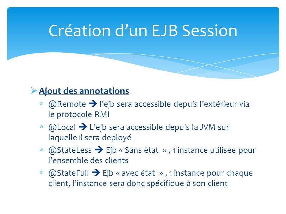 Ajout des annotations @Remote lejb sera accessible depuis lextérieur via le protocole RMI @Local Lejb sera accessible depuis la JVM sur laquelle il se