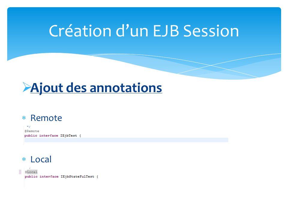 Implémentation de linterface Message Listener Création dun EJB Message