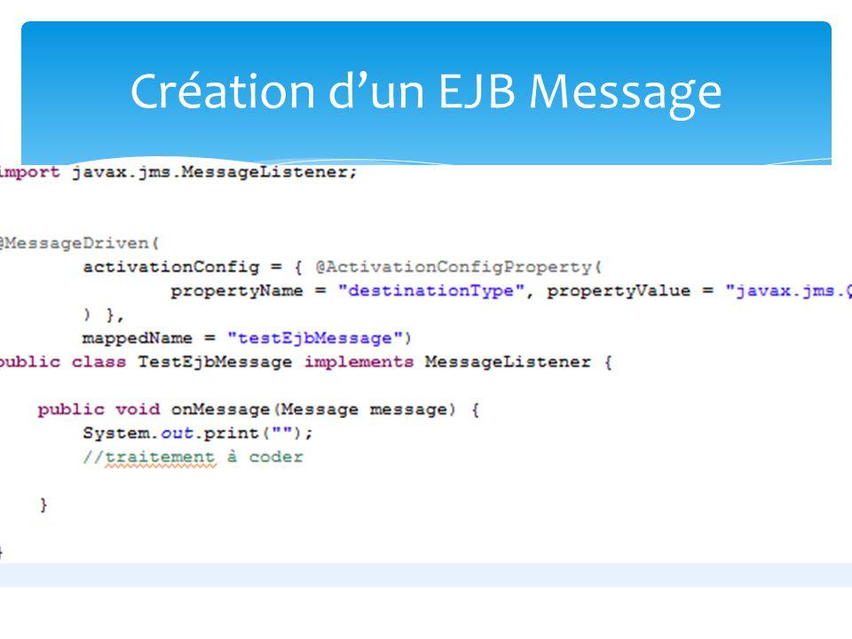 Appel dun EJB message Création dun EJB Message
