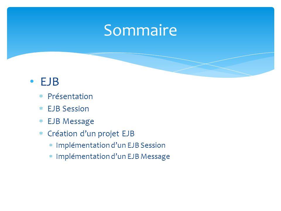 EJB Présentation EJB Session EJB Message Création dun projet EJB Implémentation dun EJB Session Implémentation dun EJB Message Sommaire