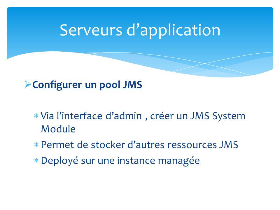 Configurer un pool JMS Dans le JMS Module Server, créer une Connection Factory en indiquant le JNDI Objet de base Permet d établir une Connection puis une Session Serveurs dapplication