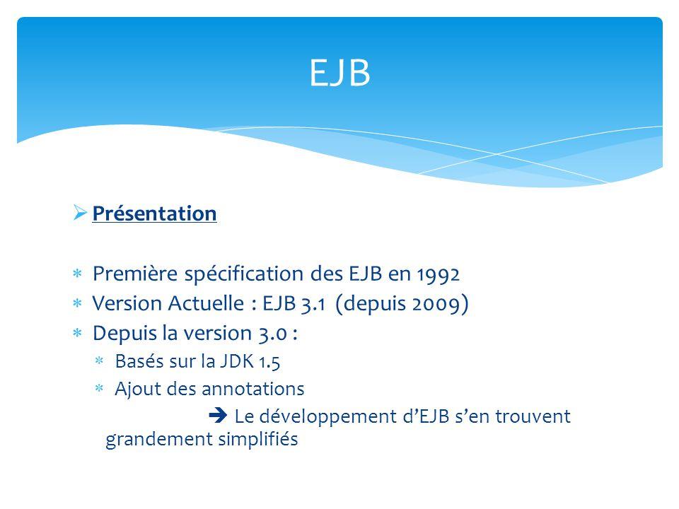 Présentation Première spécification des EJB en 1992 Version Actuelle : EJB 3.1 (depuis 2009) Depuis la version 3.0 : Basés sur la JDK 1.5 Ajout des an