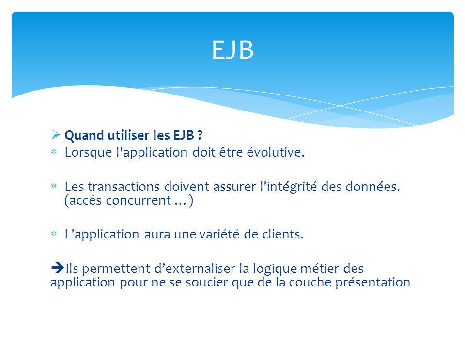 Quand utiliser les EJB ? Lorsque l'application doit être évolutive. Les transactions doivent assurer l'intégrité des données. (accés concurrent …) L'a