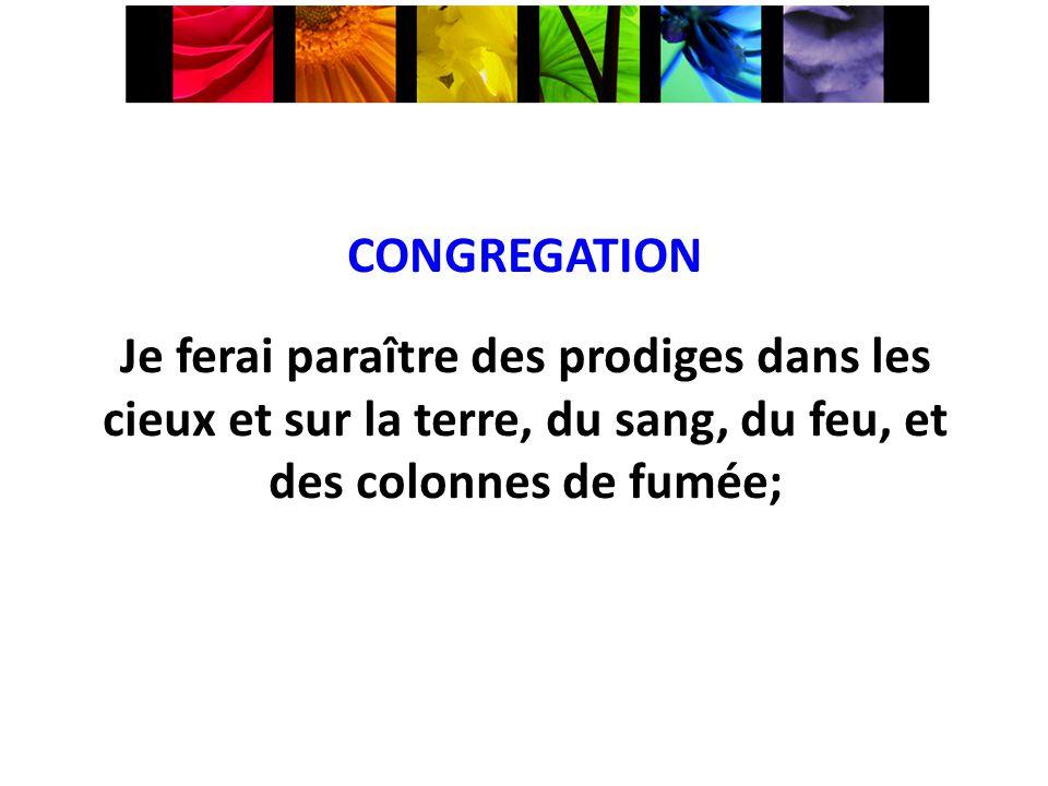 CONGREGATION Je ferai paraître des prodiges dans les cieux et sur la terre, du sang, du feu, et des colonnes de fumée;
