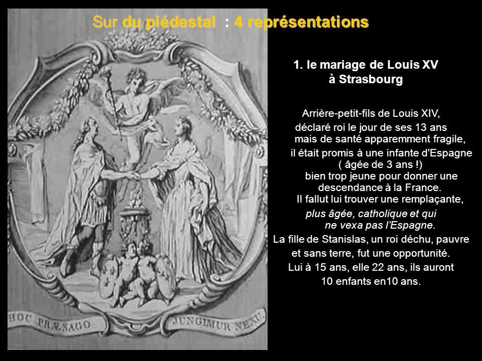 statue de bronze Au centre, s'élevait une statue de bronze, œuvre des sculpteurs Barthélemy Guibal et Paul-Louis Cyfflé, Louis XV vêtu à l'antique » «