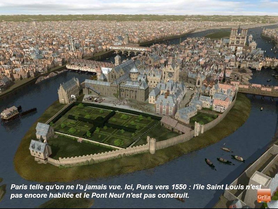 Cette image de synthèse permet de découvrir le jardin du roi sur l Ile de la Cité : son verger s étendait devant ses appartements.