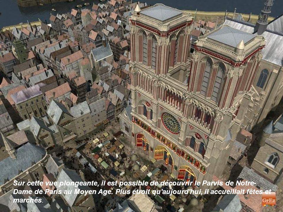 Sur cette vue plongeante, il est possible de découvrir le Parvis de Notre- Dame de Paris au Moyen Age.