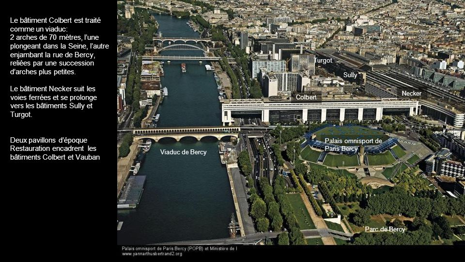 Le bâtiment Colbert est traité comme un viaduc: 2 arches de 70 mètres, lune plongeant dans la Seine, lautre enjambant la rue de Bercy, reliées par une succession darches plus petites.
