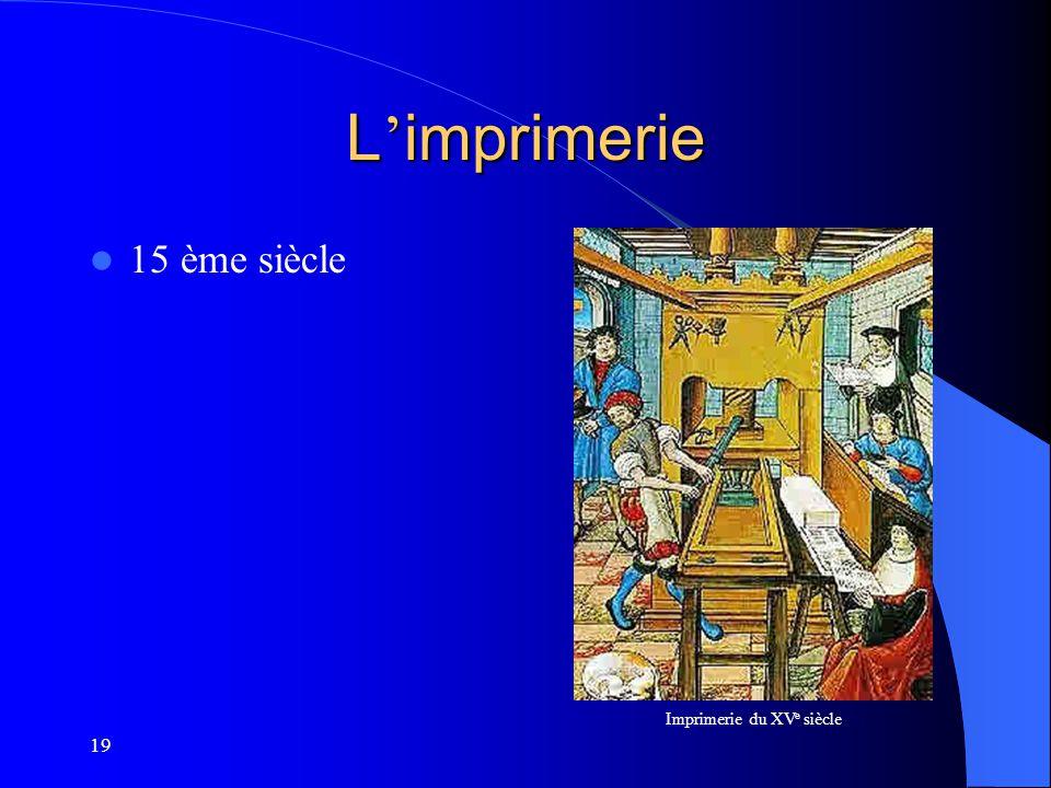 19 L imprimerie 15 ème siècle Imprimerie du XV e siècle