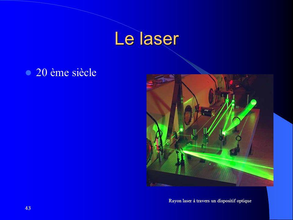 43 Le laser 20 ème siècle Rayon laser à travers un dispositif optique