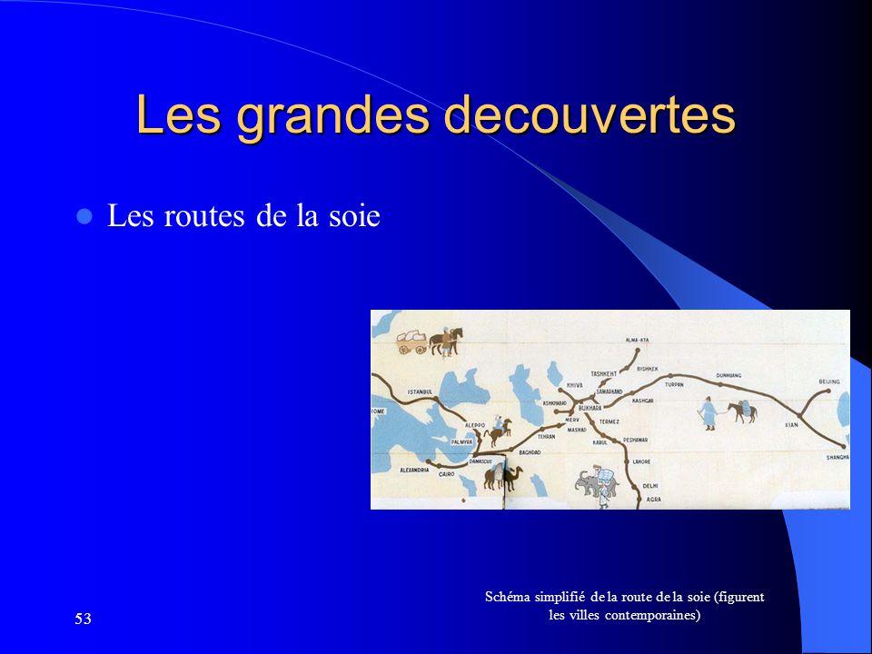 53 Les grandes decouvertes Les routes de la soie Schéma simplifié de la route de la soie (figurent les villes contemporaines)