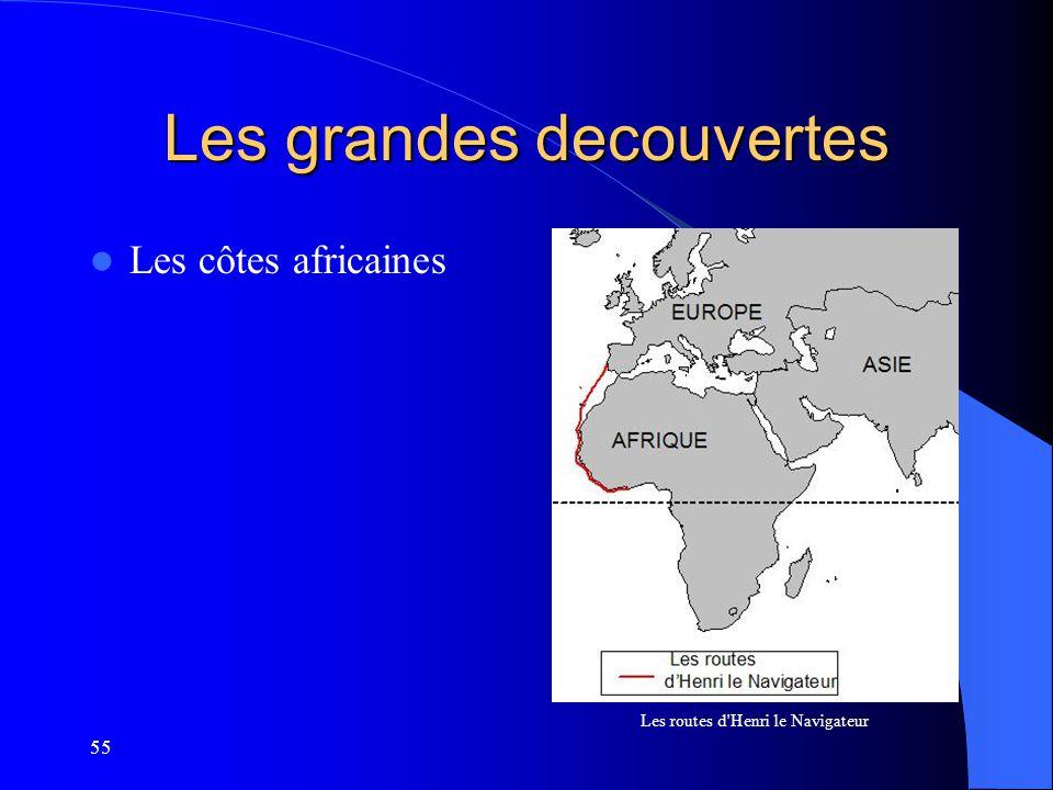 55 Les grandes decouvertes Les côtes africaines Les routes d'Henri le Navigateur