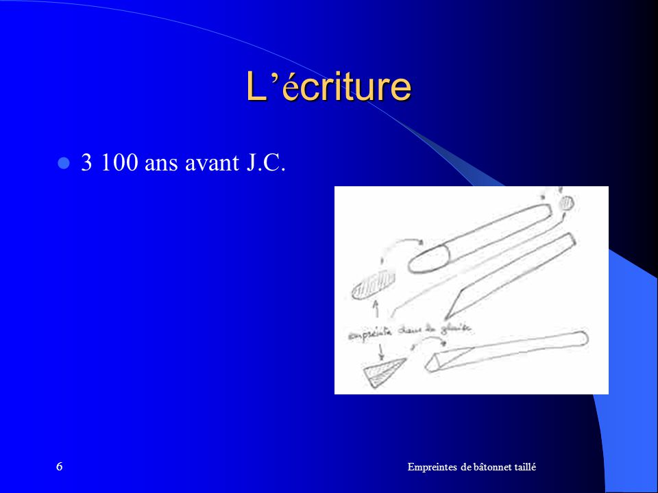 6 L é criture 3 100 ans avant J.C. Empreintes de bâtonnet taillé