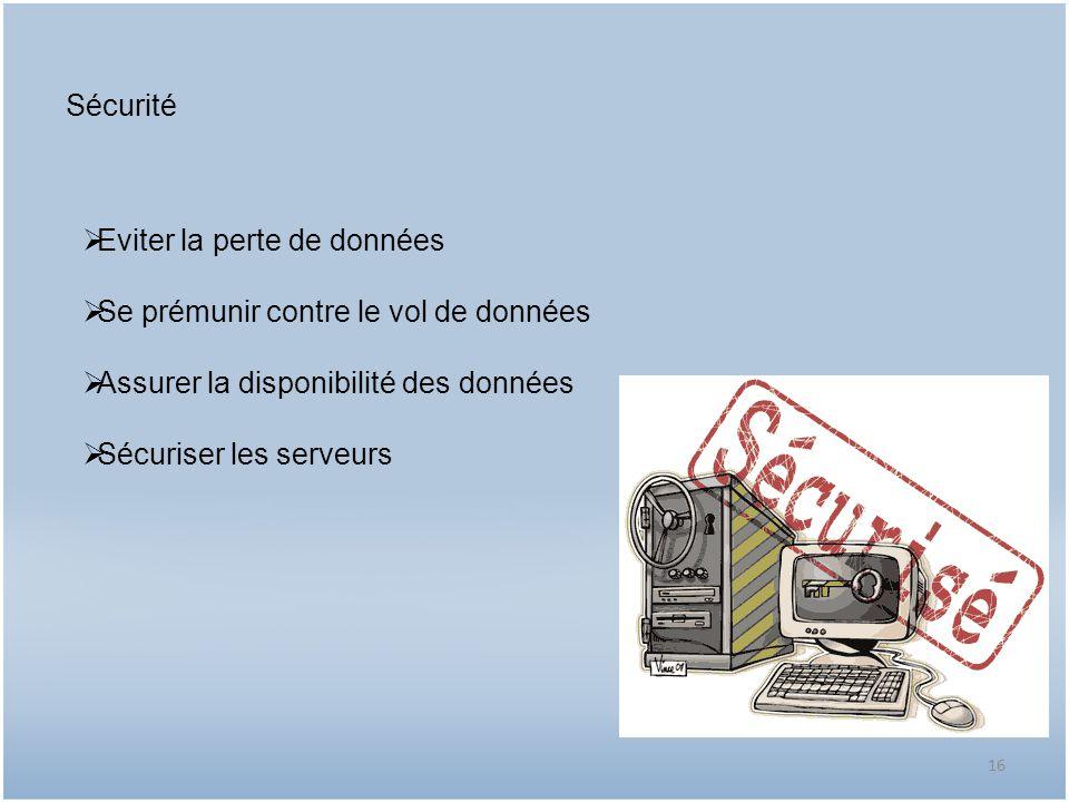 Sécurité Eviter la perte de données Se prémunir contre le vol de données Assurer la disponibilité des données Sécuriser les serveurs 16