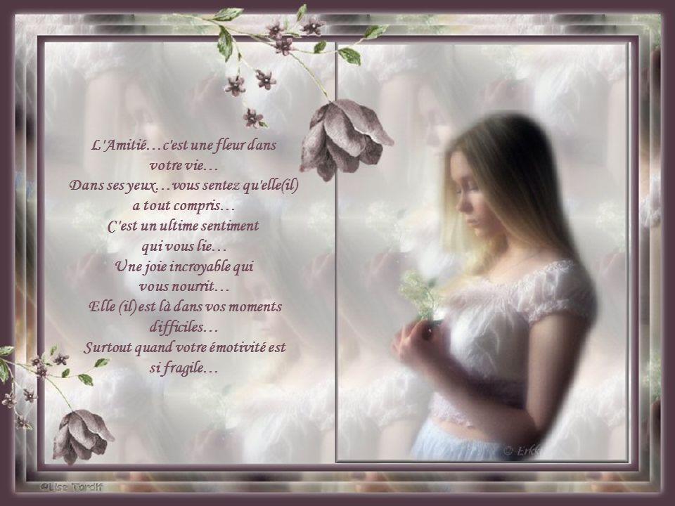 L Amitié…c est une fleur dans votre vie… Dans ses yeux…vous sentez qu elle(il) a tout compris… C est un ultime sentiment qui vous lie… Une joie incroyable qui vous nourrit… Elle (il) est là dans vos moments difficiles… Surtout quand votre émotivité est si fragile…
