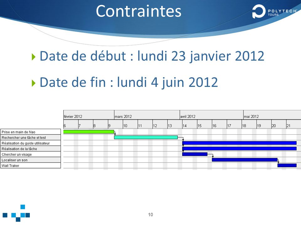 Contraintes 10 Date de début : lundi 23 janvier 2012 Date de fin : lundi 4 juin 2012