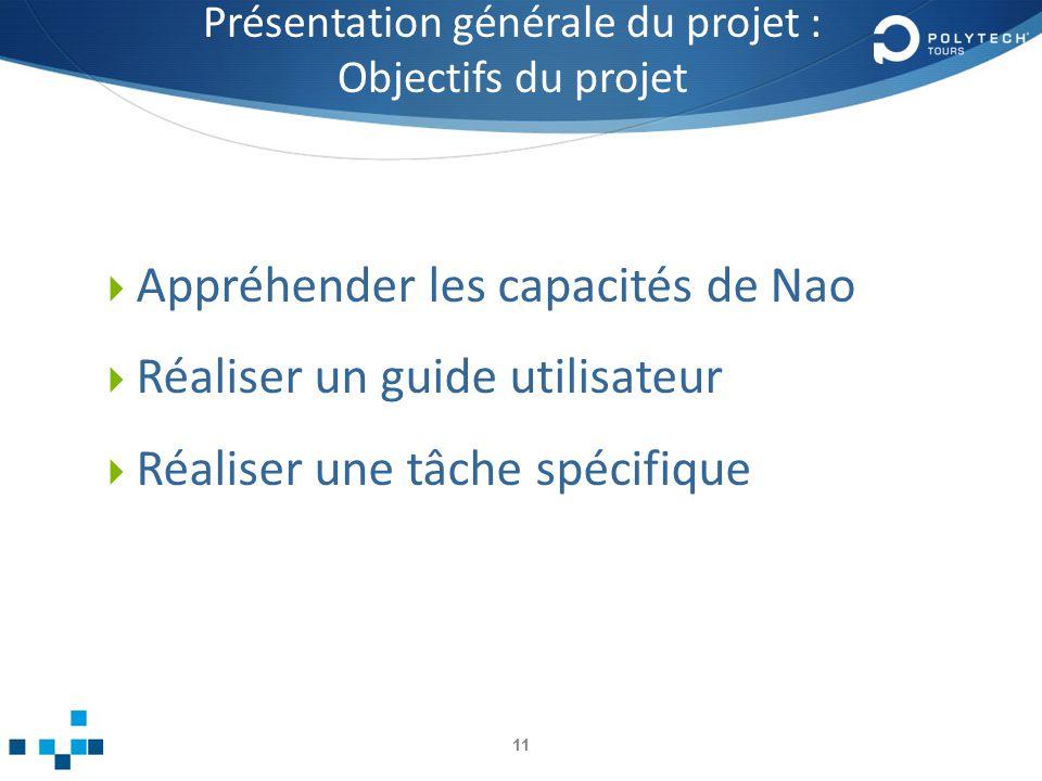 Présentation générale du projet : Objectifs du projet Appréhender les capacités de Nao Réaliser un guide utilisateur Réaliser une tâche spécifique 11