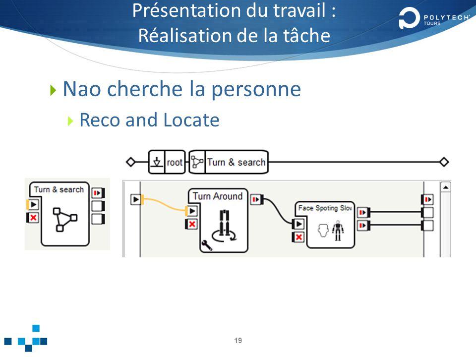 Présentation du travail : Réalisation de la tâche Nao cherche la personne Reco and Locate 19