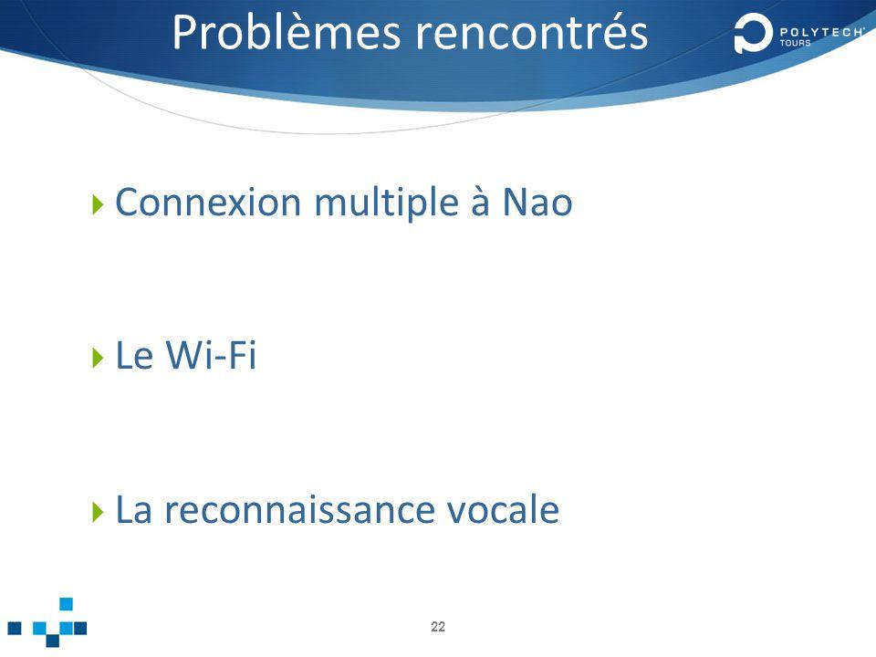 Problèmes rencontrés Connexion multiple à Nao Le Wi-Fi La reconnaissance vocale 22