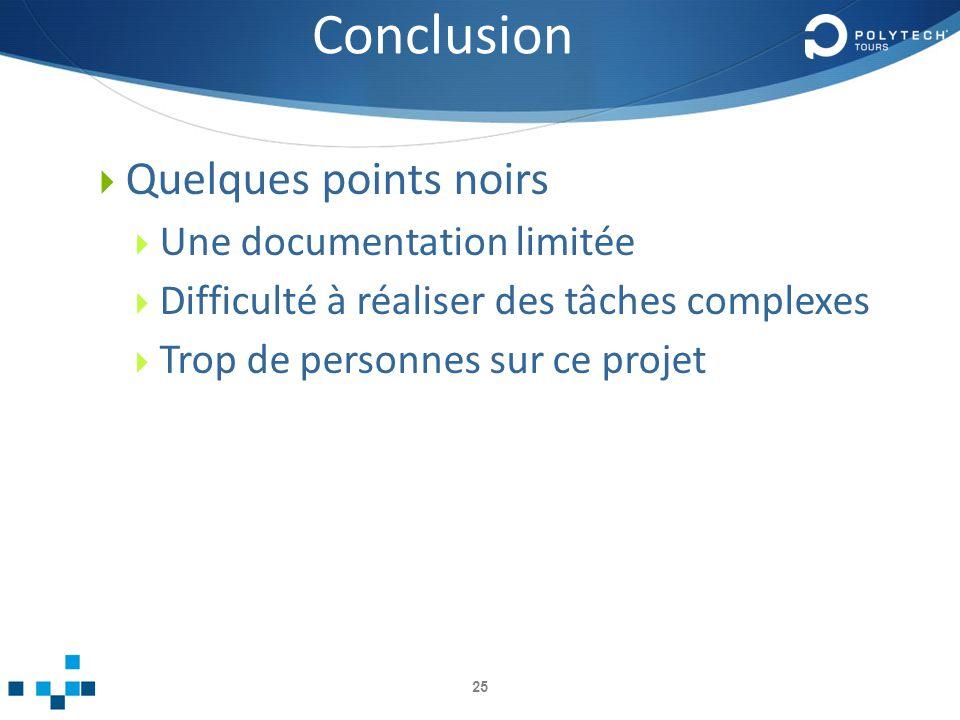 Conclusion Quelques points noirs Une documentation limitée Difficulté à réaliser des tâches complexes Trop de personnes sur ce projet 25