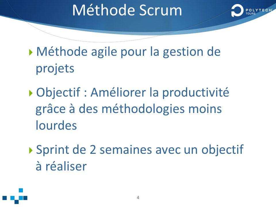 Méthode Scrum Méthode agile pour la gestion de projets Objectif : Améliorer la productivité grâce à des méthodologies moins lourdes Sprint de 2 semaines avec un objectif à réaliser 4