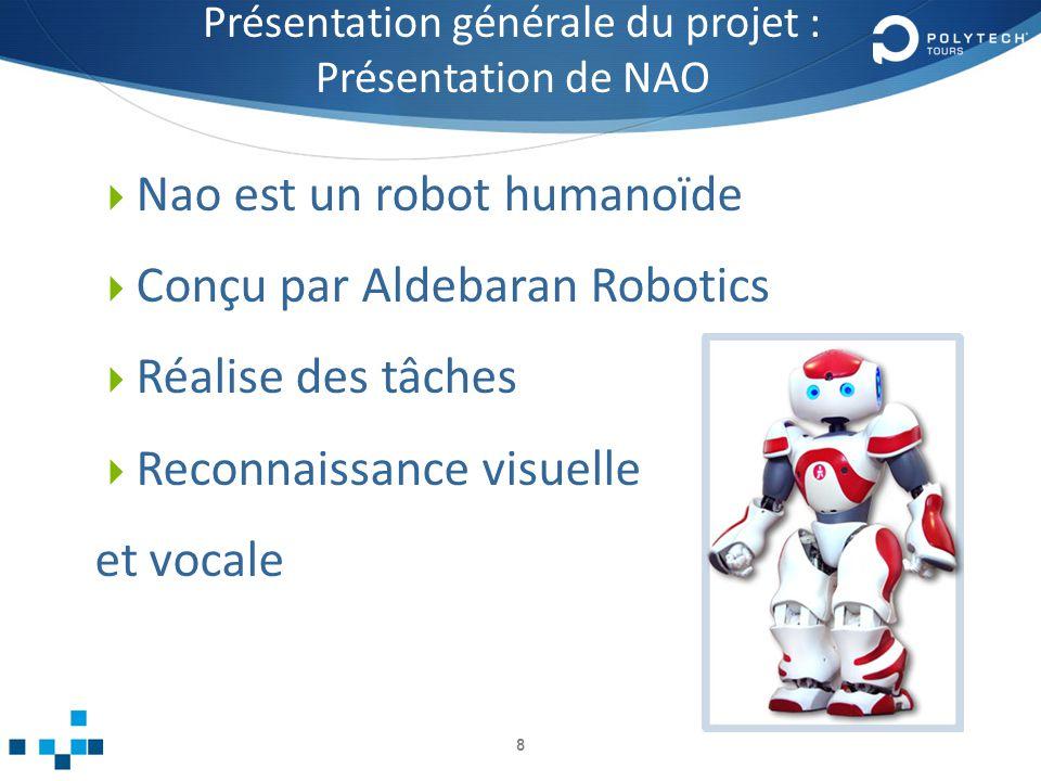 Présentation générale du projet : Présentation de NAO Nao est un robot humanoïde Conçu par Aldebaran Robotics Réalise des tâches Reconnaissance visuelle et vocale 8