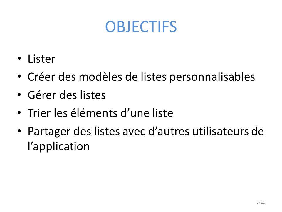 OBJECTIFS Lister Créer des modèles de listes personnalisables Gérer des listes Trier les éléments dune liste Partager des listes avec dautres utilisateurs de lapplication 3/10