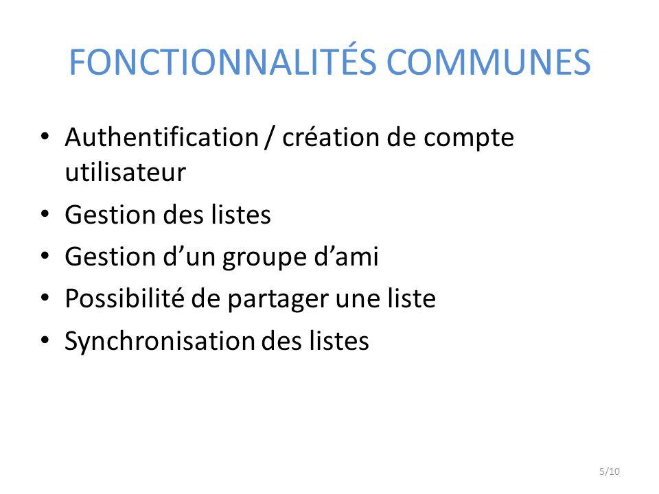 FONCTIONNALITÉS COMMUNES Authentification / création de compte utilisateur Gestion des listes Gestion dun groupe dami Possibilité de partager une liste Synchronisation des listes 5/10