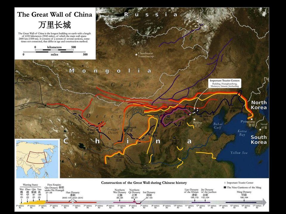 La Grande Muraille est un ensemble de fortifications militaires chinoises construites, détruites et reconstruites en plusieurs fois et maints endroits