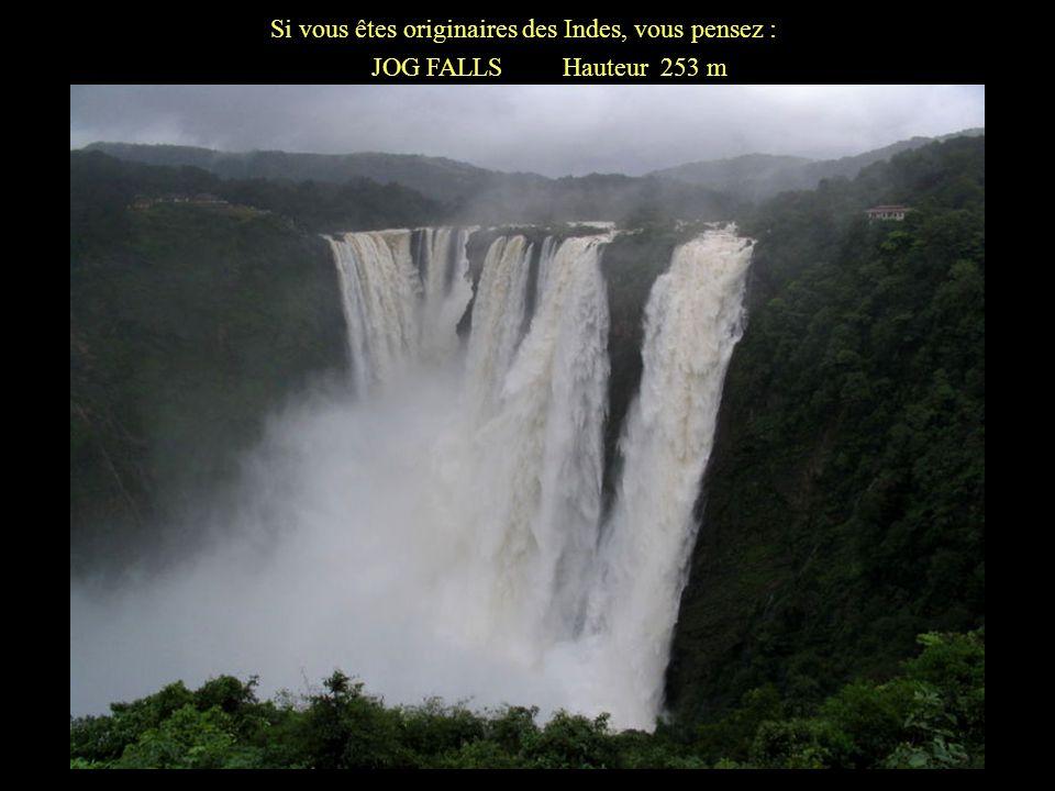 Si vous êtes originaires dAmérique du Nord, vous pensez : NIAGARA FALLS Hauteur 59 mètres