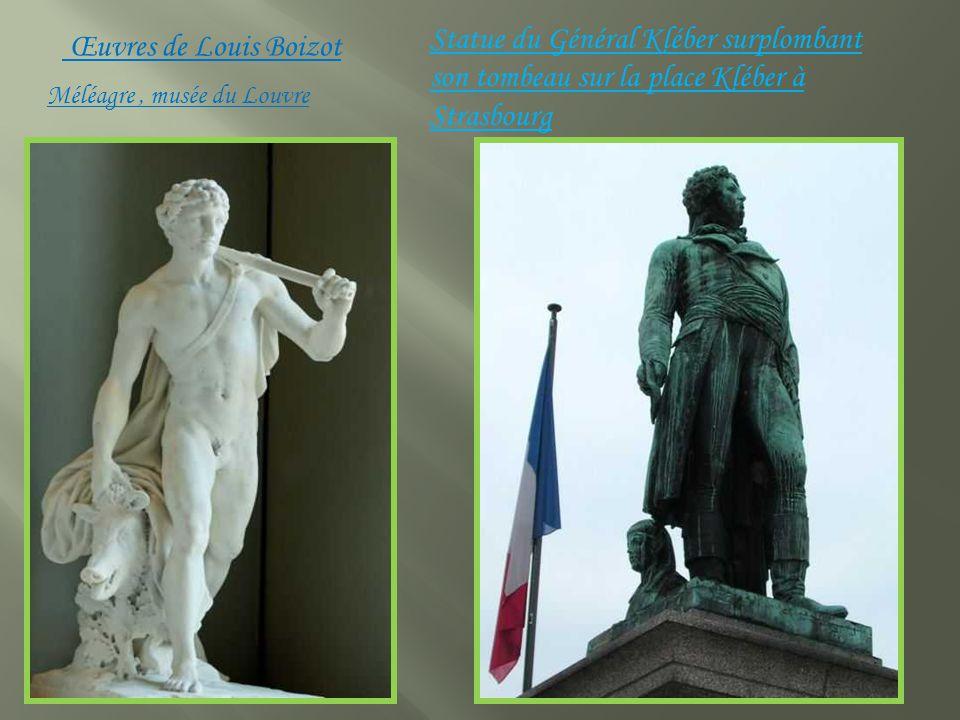 Statue du Général Kléber surplombant son tombeau sur la place Kléber à Strasbourg Méléagre, musée du Louvre Œuvres de Louis Boizot