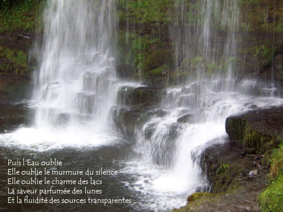 Puis l Eau oublie Elle oublie le murmure du silence Elle oublie le charme des lacs La saveur parfumée des lunes Et la fluidité des sources transparentes