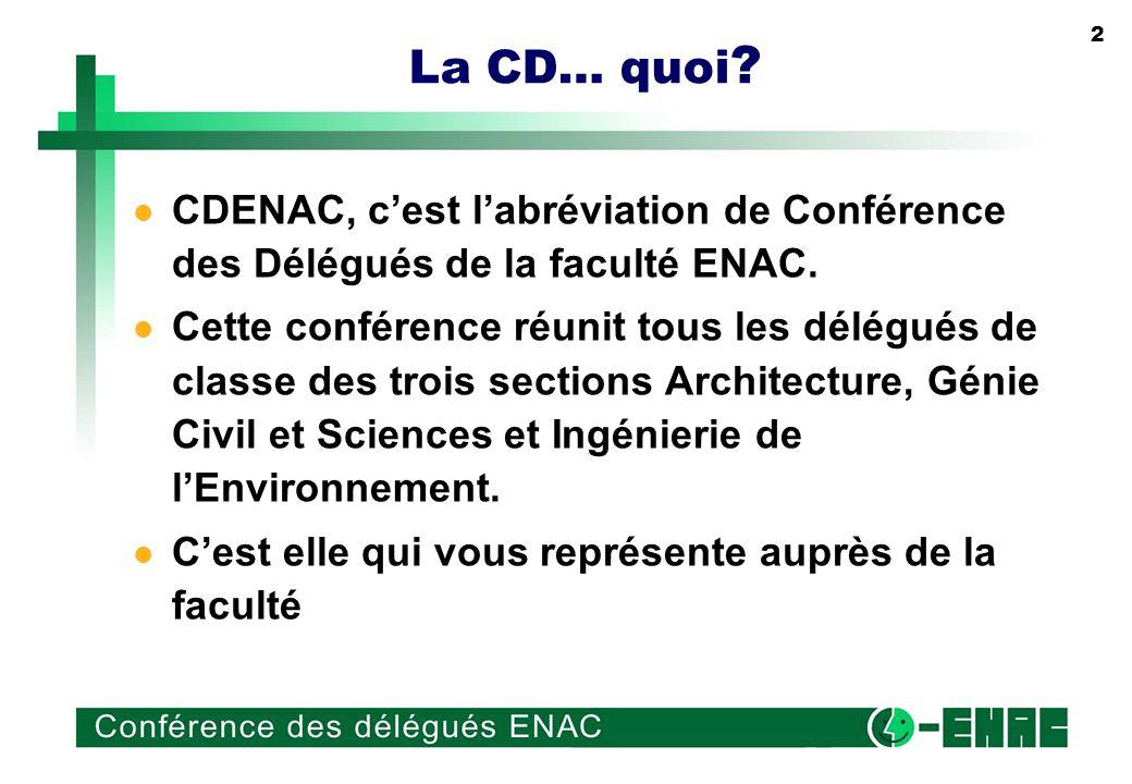 2 La CD… quoi . CDENAC, cest labréviation de Conférence des Délégués de la faculté ENAC.